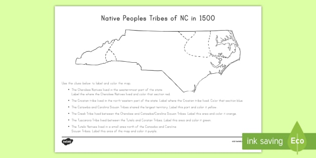 Native Peoples of North Carolina Activity - United States History, State history, North Carolina, Native American, Tribes, native peoples