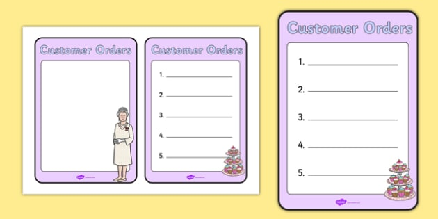 Royal Afternoon Tea Role Play Order Form - royal, afternoon tea, role play, order form