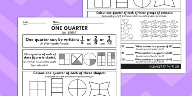 Fractions Quarter Worksheet Romanian Translation - romanian