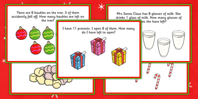 Christmas Themed KS1 Subtraction Word Problem Challenge Cards - christmas, subtraction, word problem, challenge