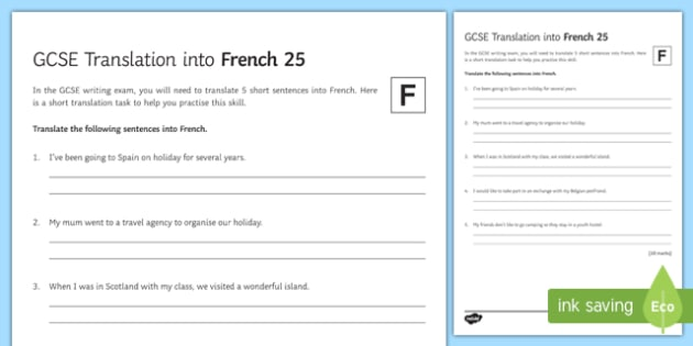 GCSE French Translation into French 25 Foundation Tier Activity Sheet
