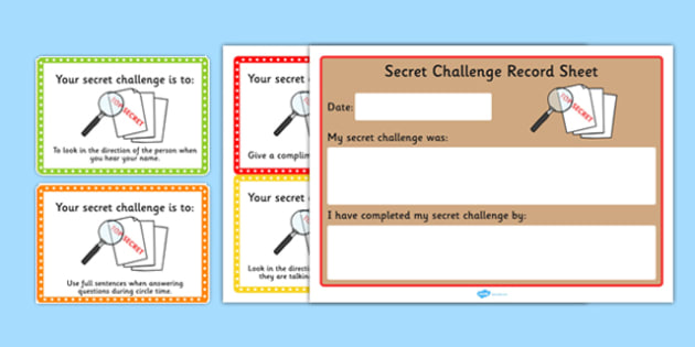 Secret Challenge Social Skills Cards - challenges, activity