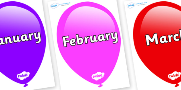 Months of the Year on Balloons - Months of the Year, Months poster, Months display, display, poster, frieze, Months, month, January, February, March, April, May, June, July, August, September