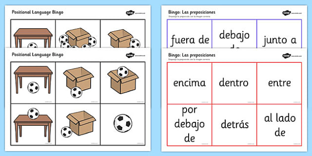 Spanish Positional Language Bingo