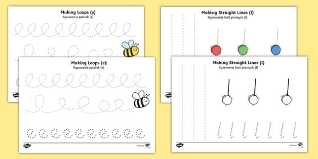 Pencil Control Worksheets Polish/English
