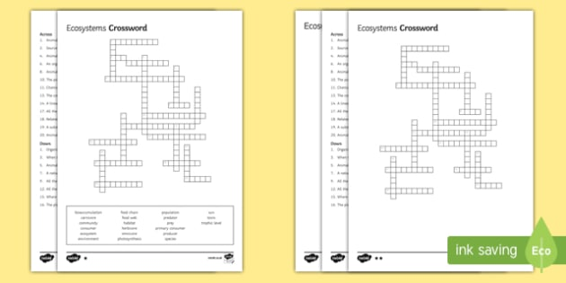 KS3 Ecosystems Crossword