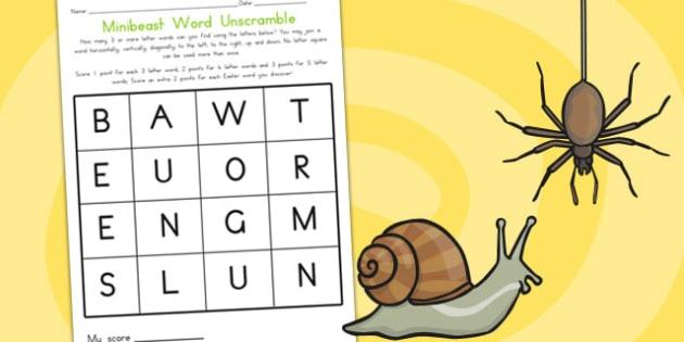 Minibeast Word Unscramble - literacy, writing, mini beasts
