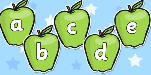 A-Z Alphabet on Apples - Apple, apples, Alphabet frieze, Display letters, Letter posters, A-Z letters, Alphabet flashcards, harvest, fruit