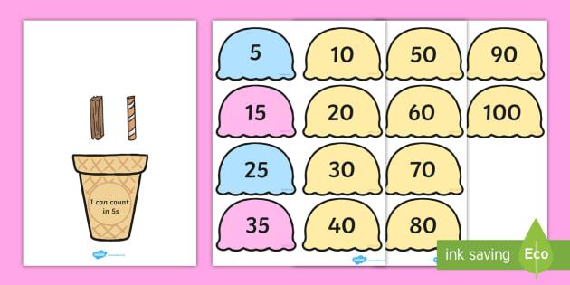 Counting in 5s Ice Cream Cone Ordering Activity - Ice, Cream