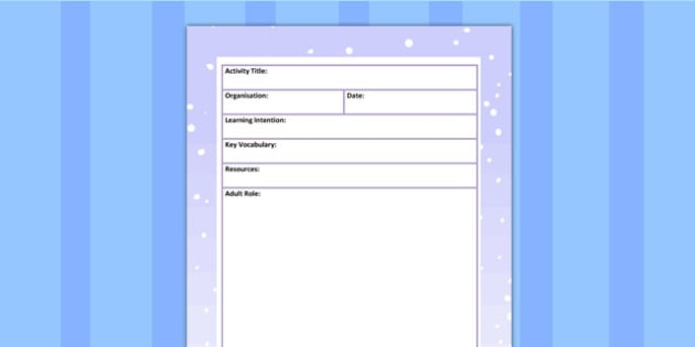 Winter Themed Adult Led Carpet Based Activity Planning Template