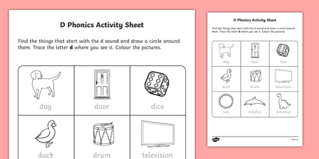 d Phonics Activity Sheet-Irish, worksheet
