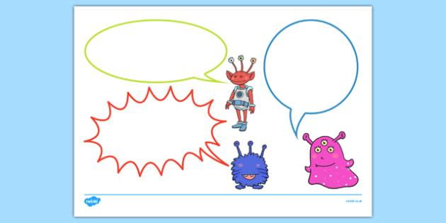 Alien Themed Speech Bubbles - EYFS, early years, Space, planets, aliens, the moon, rockets, spaceships, observations, speech bubbles