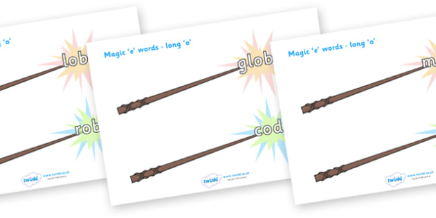 Magic E Words On Wands Long O - magic e words, words, long o , literacy, sounds, wands