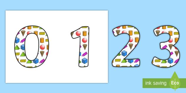 3D Shapes Display Numbering - 3d shapes, shapes, 3d shape themed numbers, shape themed numbers, shapes display lettering and numbers, shapes display