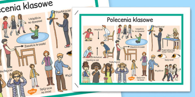 Plakat Polecenia szkolne po polsku - zachowanie, wychowawcza