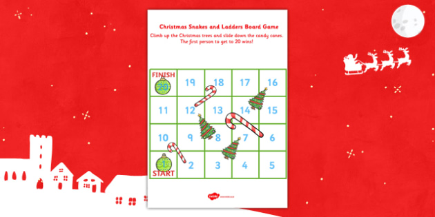Snakes and Ladders Christmas Board Game 1 to 20 - christmas, game