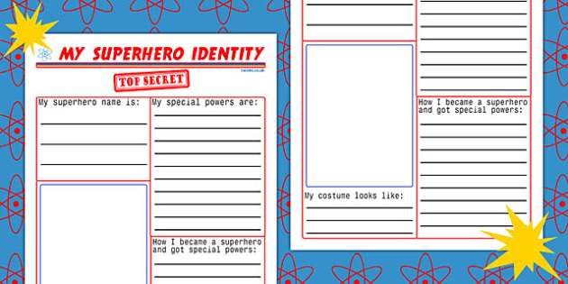 My Superhero Identity Worksheet - superheroes, writing template