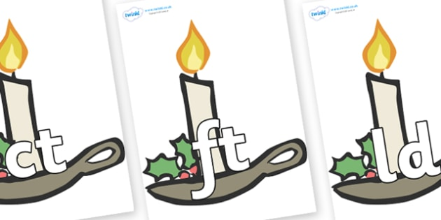 Final Letter Blends on Christmas Candles - Final Letters, final letter, letter blend, letter blends, consonant, consonants, digraph, trigraph, literacy, alphabet, letters, foundation stage literacy