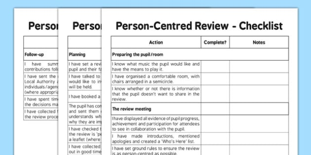Person Centred Review Checklist - person centred review, sen, person centred, checklist