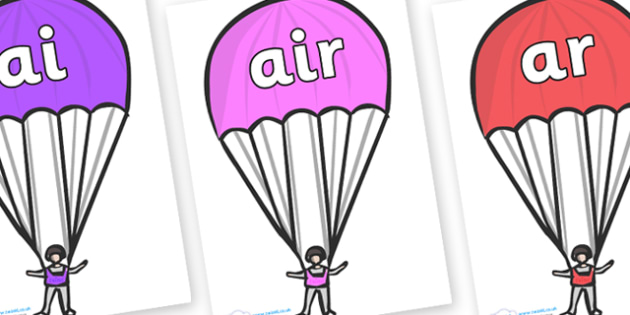 Phase 3 Phonemes on Parachutes - Phonemes, phoneme, Phase 3, Phase three, Foundation, Literacy, Letters and Sounds, DfES, display