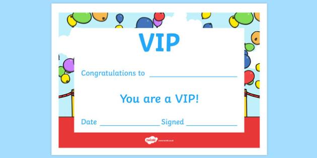 VIP Certificate