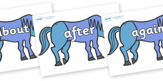KS1 Keywords on Blue Horse to Support Teaching on Brown Bear, Brown Bear - KS1, CLL, Communication language and literacy, Display, Key words, high frequency words, foundation stage literacy, DfES Letters and Sounds, Letters and Sounds, spelling