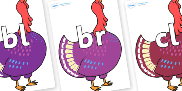 Initial Letter Blends on Hullabaloo Turkey to Support Teaching on Farmyard Hullabaloo - Initial Letters, initial letter, letter blend, letter blends, consonant, consonants, digraph, trigraph, literacy, alphabet, letters, foundation stage literacy