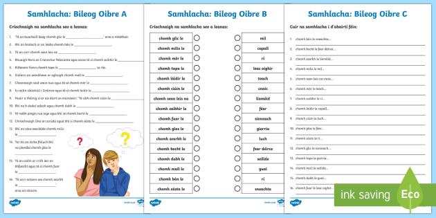 Irish Similes Activity Sheets Gaeilge
