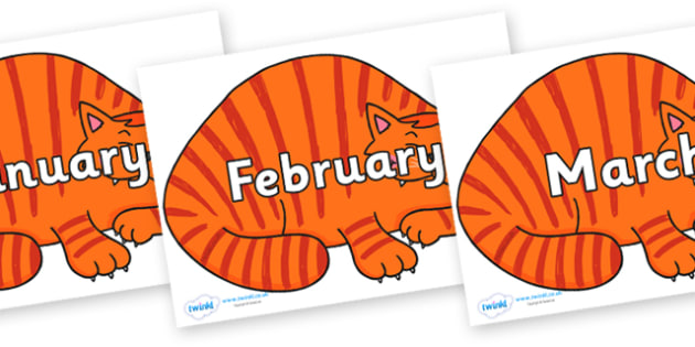Months of the Year on Hullabaloo Cat to Support Teaching on Farmyard Hullabaloo - Months of the Year, Months poster, Months display, display, poster, frieze, Months, month, January, February, March, April, May, June, July, August, September