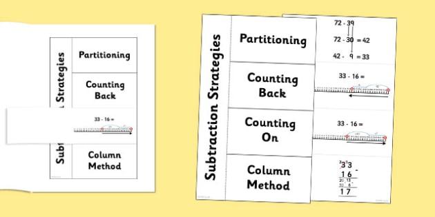 Subtraction Strategies Flapbook - subtraction, strategies, subtract, numeracy, maths, subtraction strategies, flapbook