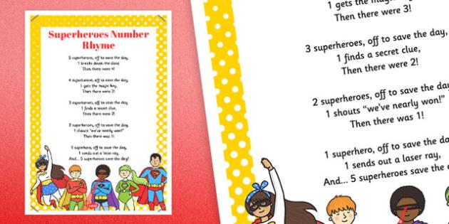 Superheroes Number Rhyme Poster - superheroes, number, rhyme