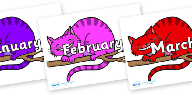 Months of the Year on Cheshire Cats - Months of the Year, Months poster, Months display, display, poster, frieze, Months, month, January, February, March, April, May, June, July, August, September