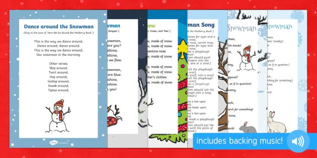 Snowman Songs and Rhymes Resource Pack - The Snowman, Raymond Briggs, Christmas, winter, snowman, snowmen, songs, christmas, playdough