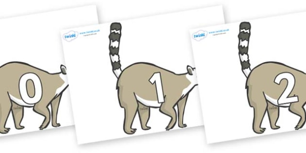Numbers 0-100 on Lemurs - 0-100, foundation stage numeracy, Number recognition, Number flashcards, counting, number frieze, Display numbers, number posters