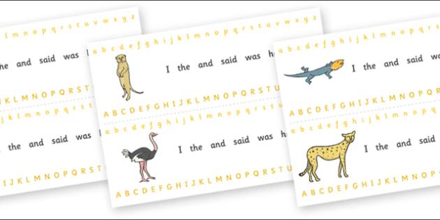 Alphabet Strips (Safari) - Alphabet, Learning letters, Writing aid, Writing Area, lion, cheetah, puma, jaguar, rhino, hippo, elephant, giraffe, antelope