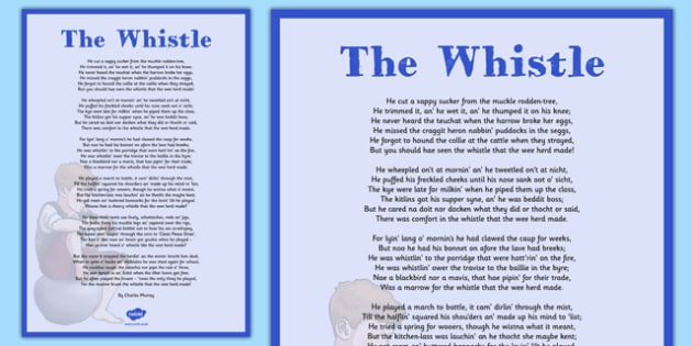 Charles Murray The Whistle Poem A4 - cfe, charles murral, scots, poem, poetry, the whistle, a4