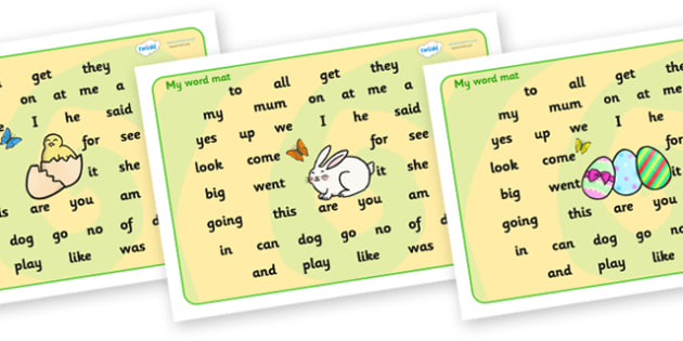 Easter Themed Word Mat FS3 - word mat, writing aid, mat, easter, easter word mat, easter wordmat, easter key words, easter FS3, FS3 words, words on a mat, key words, literacy, learning aid