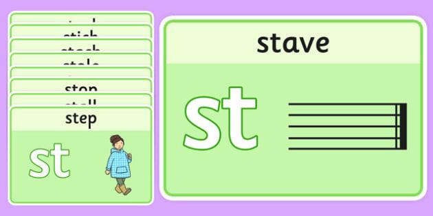 Initial 'st' Blend Playdough Mats - initial st, playdough, cards