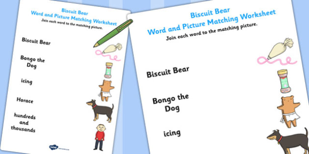 Word and Picture Match to Support Teaching on Biscuit Bear - Biscuit, Bear, Picture