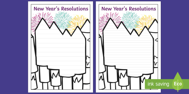 New Year's Resolutions on Fireworks Writing Frames