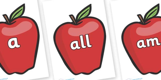 Foundation Stage 2 Keywords on Red Apples - FS2, CLL, keywords, Communication language and literacy,  Display, Key words, high frequency words, foundation stage literacy, DfES Letters and Sounds, Letters and Sounds, spelling