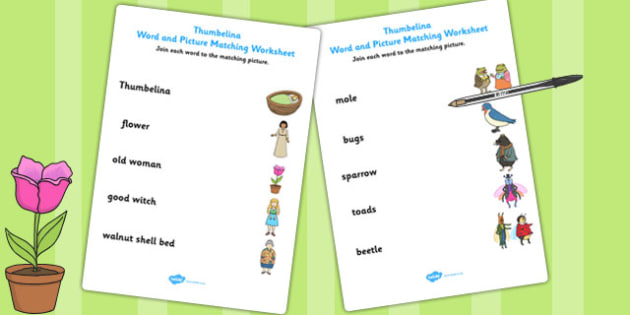 Thumbelina Word and Picture Matching Worksheet - matching, stories, books