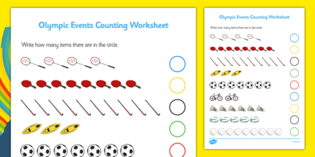 Rio 2016 Olympics Sports Events Counting Activity Sheet -  Olympics, Olympic Games, sports, Olympic, London, worksheet, activity, sheet, counting, numbers, numeracy, count, 2012, activity, Olympic torch, medal, Olympic Rings, mascots, flame, compete,
