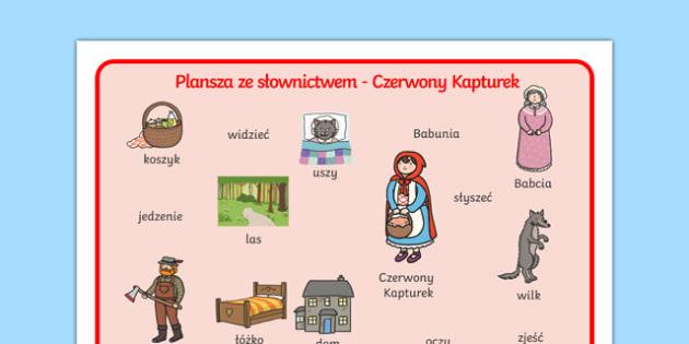 Plansza ze słownictwem Czerwony Kapturek po polsku