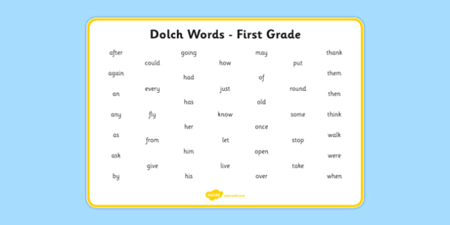 Dolch Words Word Mat First Grade - usa, america, dolch, word, word mat, mat, first grade