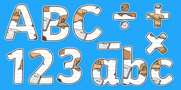 Writing Themed Display Letters and Numbers Pack - English Lettering, Literacy Lettering, Literacy display lettering, writing