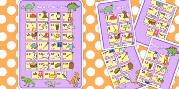 Dinosaur Themed Phase 3 Phonics Large Poster - phase 3, poster