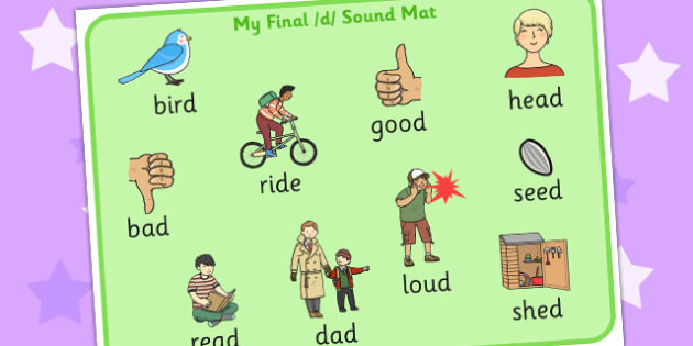 Final D Sound Word Mat 2 - final, d, sound, word mat, mat, 2