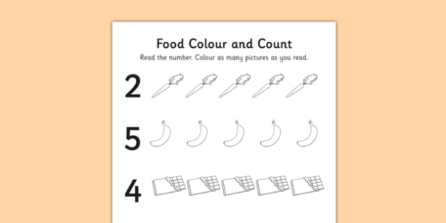 Food Themed Count and Colour Sheet - colour, count, food, sheet