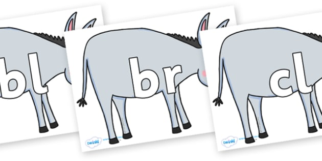 Initial Letter Blends on Hullabaloo Donkey to Support Teaching on Farmyard Hullabaloo - Initial Letters, initial letter, letter blend, letter blends, consonant, consonants, digraph, trigraph, literacy, alphabet, letters, foundation stage literacy
